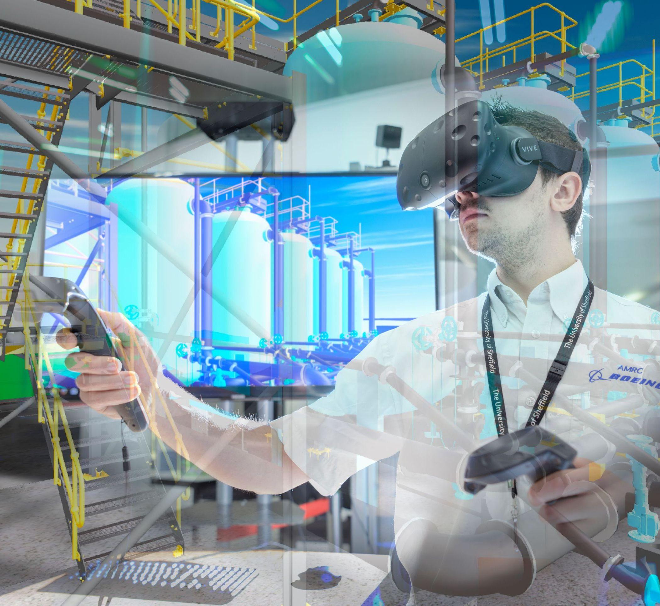 Man using VR equipment
